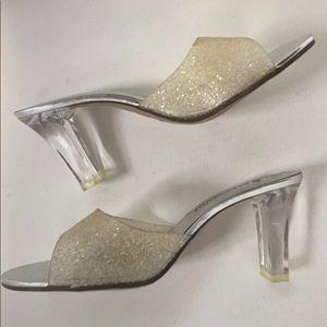 No Boundaries Glass Slipper Mules w/ Glitter Jelly
